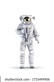 Astronaut with coffee / 3D illustration of space suit wearing male figure holding cup of coffee isolated on white studio background