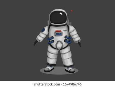 Astronaut concept art had drawn by graphical tablet