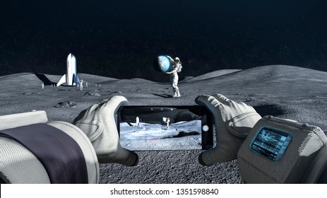 Astronaut couple take a photo during a space holiday on moon - concept - 3D rendering