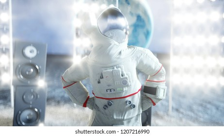 Astronaut dancing on the moon. 3d rendering.