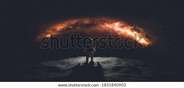 Astronaut doing space walk on foreign planet. Mars exploration. 3D render