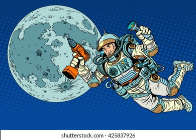 Astronaut with a drill and flashlight on the Moon