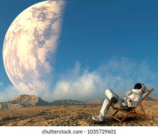 astronaut drinking 3d illustration