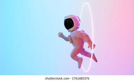 Astronaut escape from the void. Abstract psychedelic science fiction and astronomy surreal background. Side angle view. 3D rendering. Clipping path include.