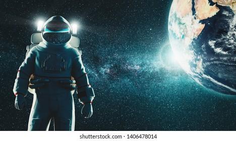 Astronaut, explore the space, 3d rendering