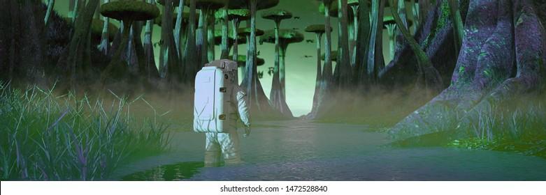 astronaut exploring alien planet landscape, mission on exoplanet with strange plants and flying creatures (3d science illustration banner)