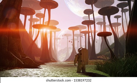 astronaut exploring alien planet landscape, journey to an exoplanet with strange plants and flying creatures (3d illustration)