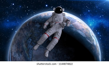 Astronaut floating back above planet Earth, cosmonaut drifting in space, 3D rendering