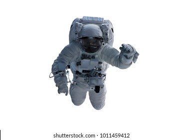 Astronaut floating isolated on white background 3D rendering elements of this image furnished by NASA