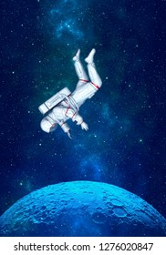 Astronaut floating in space above moon. 3D rendering.
