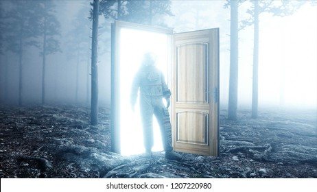 Astronaut in fog night forest. Light portal door. landing place. 4K animation. 3d rendering.