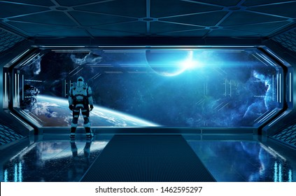 Astronaut in futuristic blue spaceship watching space through a large window 3d rendering elements of this image furnished by NASA