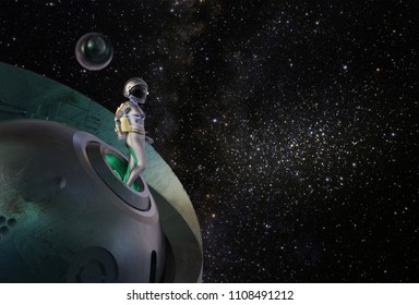 Astronaut, futuristic space girl come out from her spaceship. 3D rendering.