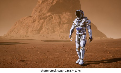 Astronaut goes on the surface of Mars through a dust storm past the giant solar panels. Panoramic landscape on the surface of Mars. 3D Rendering