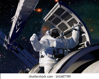 "Astronaut goes through the hatch into space.""Elemen ts of this image furnished by NASA"""