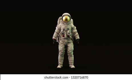 Astronaut with Gold Visor and White Spacesuit with Light Yellow and Green Moody 80s lighting Front 3d illustration 3d render