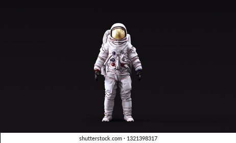 Astronaut with Gold Visor and White Spacesuit with Neutral White lighting Front 3d illustration 3d render