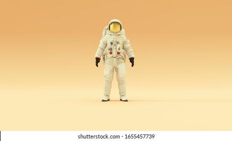 Astronaut mit goldenem Visor und weißem Spacesuit mit warmem Creme-Hintergrund mit warmem, diffundiertem Licht, Vorderansicht 3D Abbildung 3D-Rendering