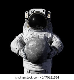 astronaut holding planet Mercury, isolated on black background (3d space illustration, elements of this image are furnished by NASA)