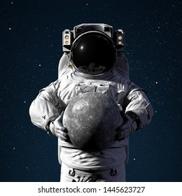 astronaut holding planet Mercury, world of the solar system (3d space illustration, elements of this image are furnished by NASA)