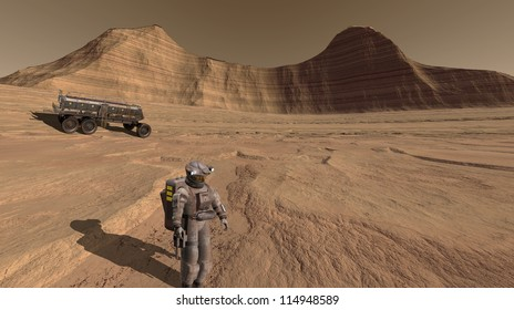 Astronaut inspecting an ancient river-course on Mars