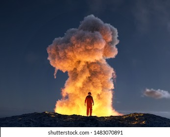 astronaut look at the big explosion, 3d illustration