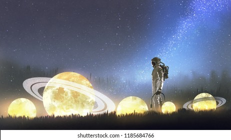 astronaut looking at fallen stars on the grass, digital art style, illustration painting