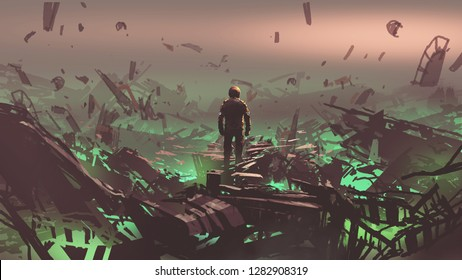 the astronaut looking at space junkyard on alien planet, digital art style, illustration painting