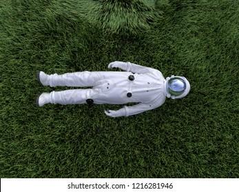 astronaut lying on the green grass, 3d illustration
