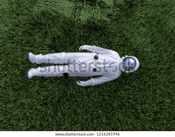 astronaut lying on the green grass, 3d illustration