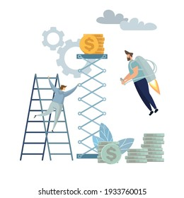astronaut man takeoff and crew climbs coin chart, investment management, money growth and profit chart, career growth to success, flat color icons, business team analysis,  illustration