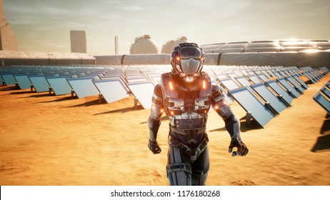 Astronaut martian returns to base after inspecting solar panels. Super realistic concept. 3D Rendering