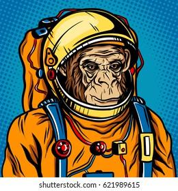 Astronaut monkey in space suit pop art retro raster illustration. Comic book style imitation.