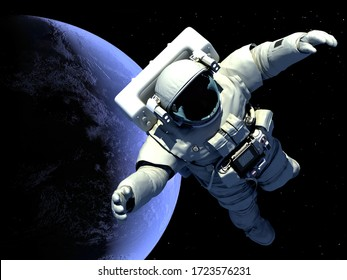 "The astronaut on a background of a planet ""Elemen ts of this image furnished by NASA"", 3d render"