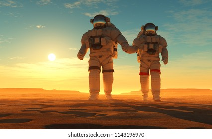 The astronaut on the background of the planet.,3d render