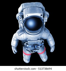 Astronaut on a black background, top view, 3d render with a work path
