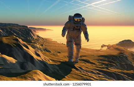 Astronaut on the grass against the sky, 3d render