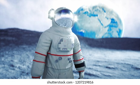 Astronaut on the moon. 3d rendering.