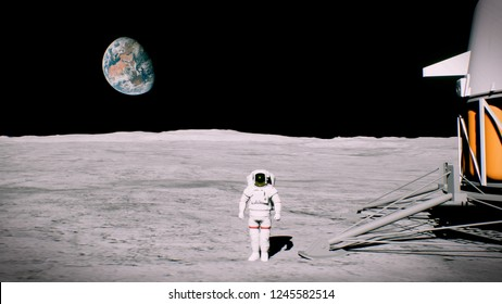 Astronaut on the moon near the lander salutes. 3D Rendering