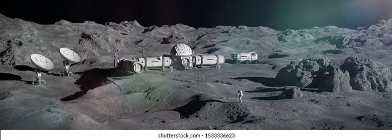 astronaut on Moon surface, lunar landscape with permanent base (3d space illustration banner)