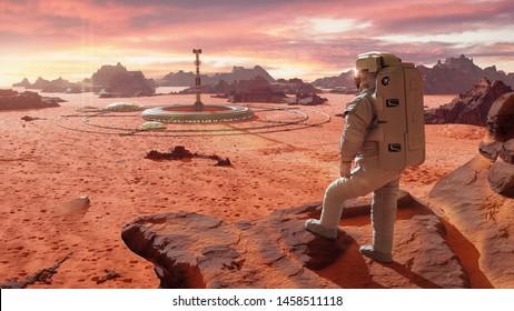 Astronaut auf dem Planeten Mars, mit Blick auf eine Marskolonie (3D-Wissenschaftsgrafik)