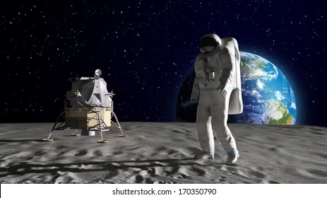 An astronaut on the surface of the Moon