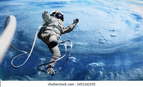 astronaut in orbit of planet Earth (3d illustration, elements of this image are furnished by NASA)