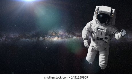 astronaut in outer space (3d illustration, elements of this image are furnished by NASA)