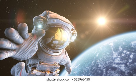 Astronaut in an Outer Space, 3d render