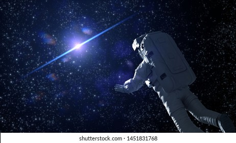 astronaut in outer space flying towards the sun (3d illustration)