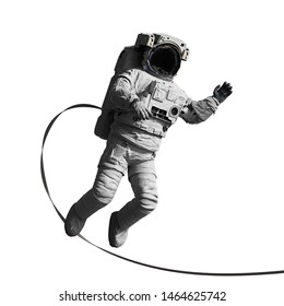 astronaut performing a space walk, isolated on white background (3d science render)
