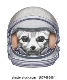 Astronaut. Portrait of Fennec Fox in a space helmet. Hand-drawn illustration