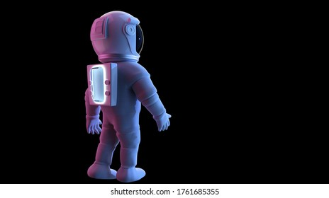 Astronaut rear angle view,  Isolated on black background with clipping path. Romantic light. 3D rendering.