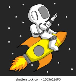 astronaut riding rocket between star